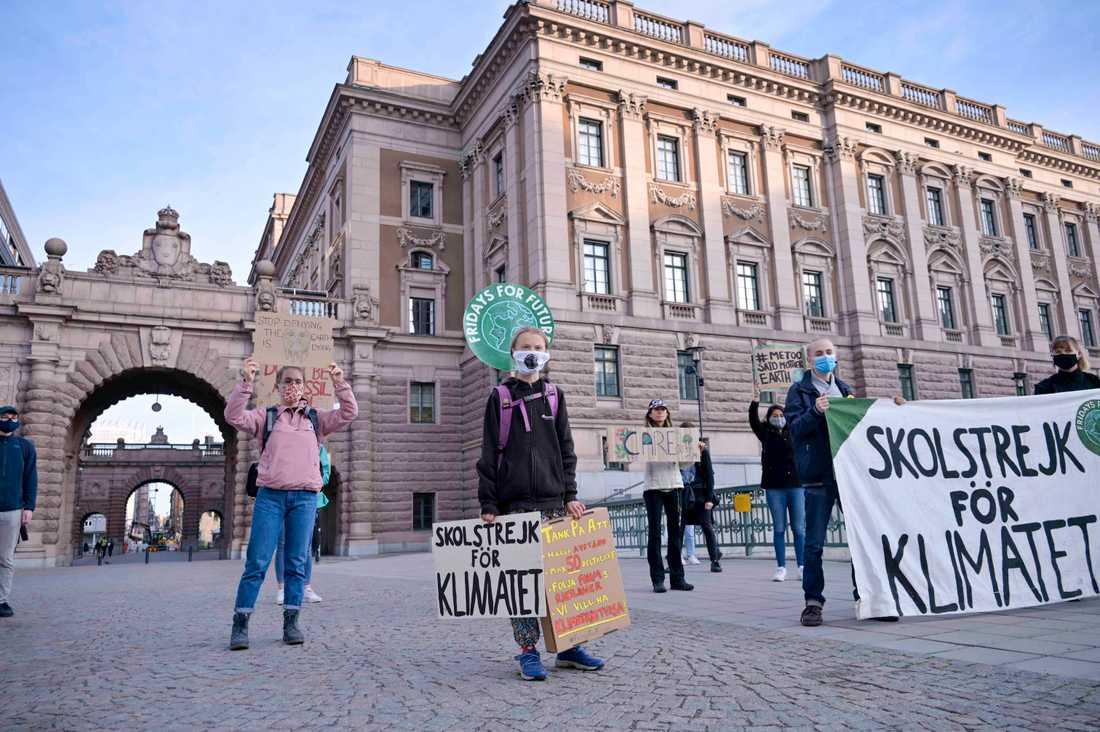 Covidanpassad klimataktion utanför riksdagen.