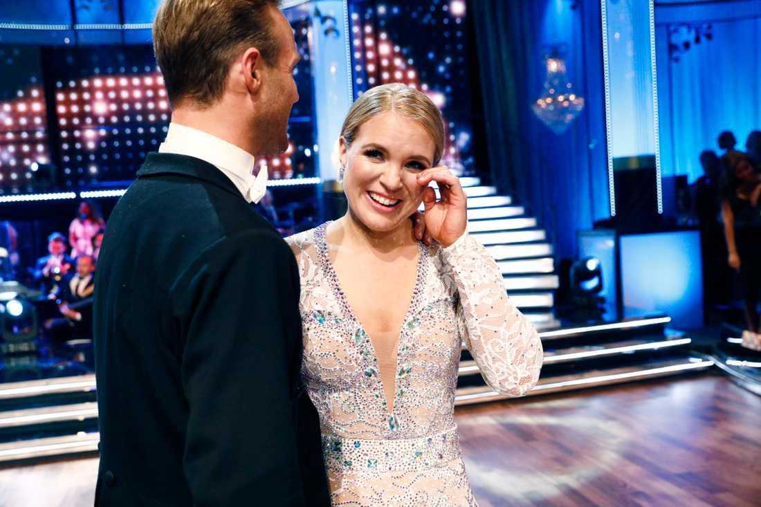 Anja Pärson med sin danspartner Calle Sterner.