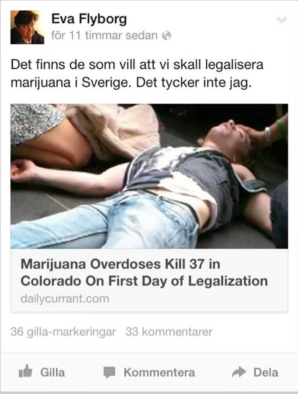 Även riksdagsledamoten Eva FLyborg (Fp) tog satiren för sanning.