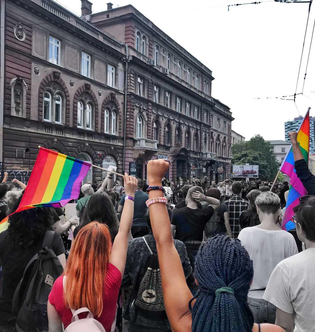 På Bosniens första Pride i Sarajevo i somras.