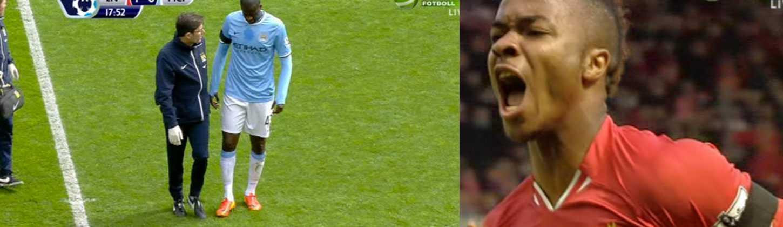 Raheem Sterling gjorde 1–0 för Liverpool. Strax därefter tvingades Citys Yaya Touré kliva av med en skada.
