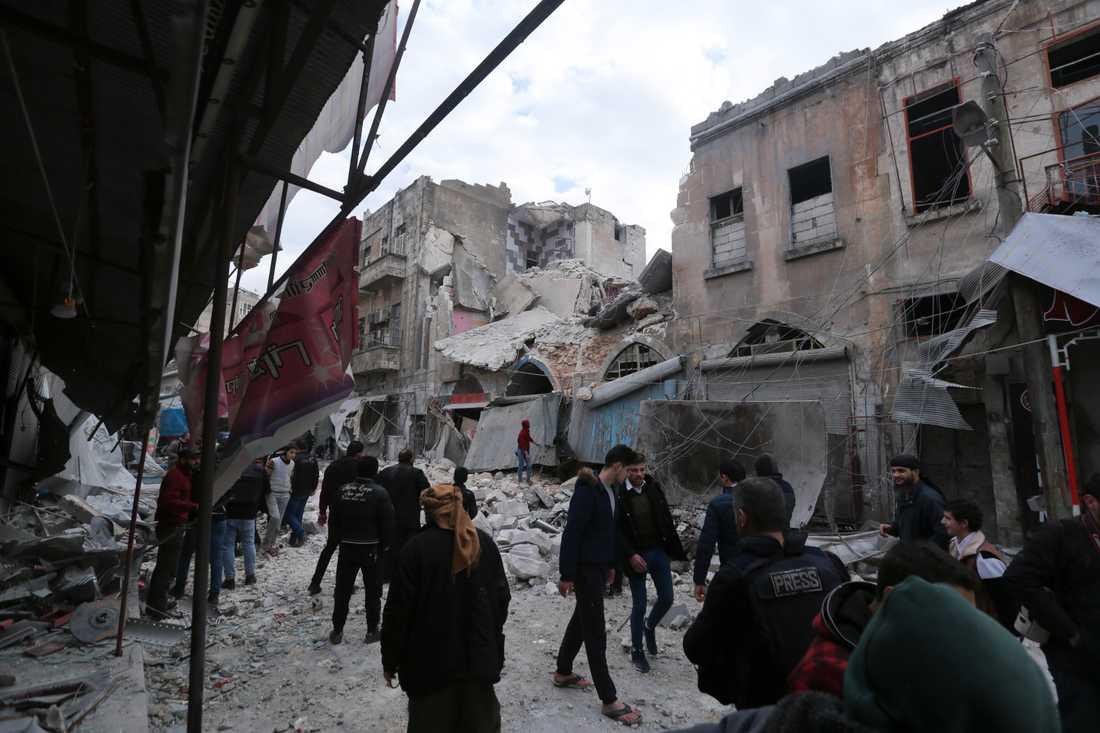 Det syriska inbördeskrigets härjningar märks tydligt i staden Ariha i provinsen Idlib.