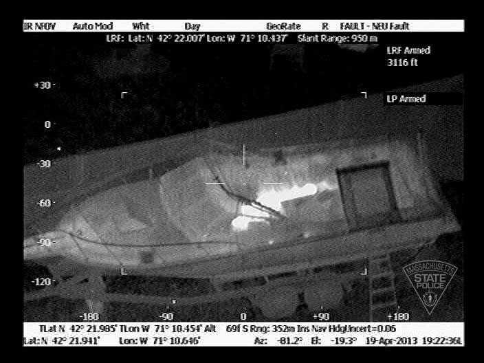 Dzjochar Tsarnajev syns från luften genom en värmekamera.