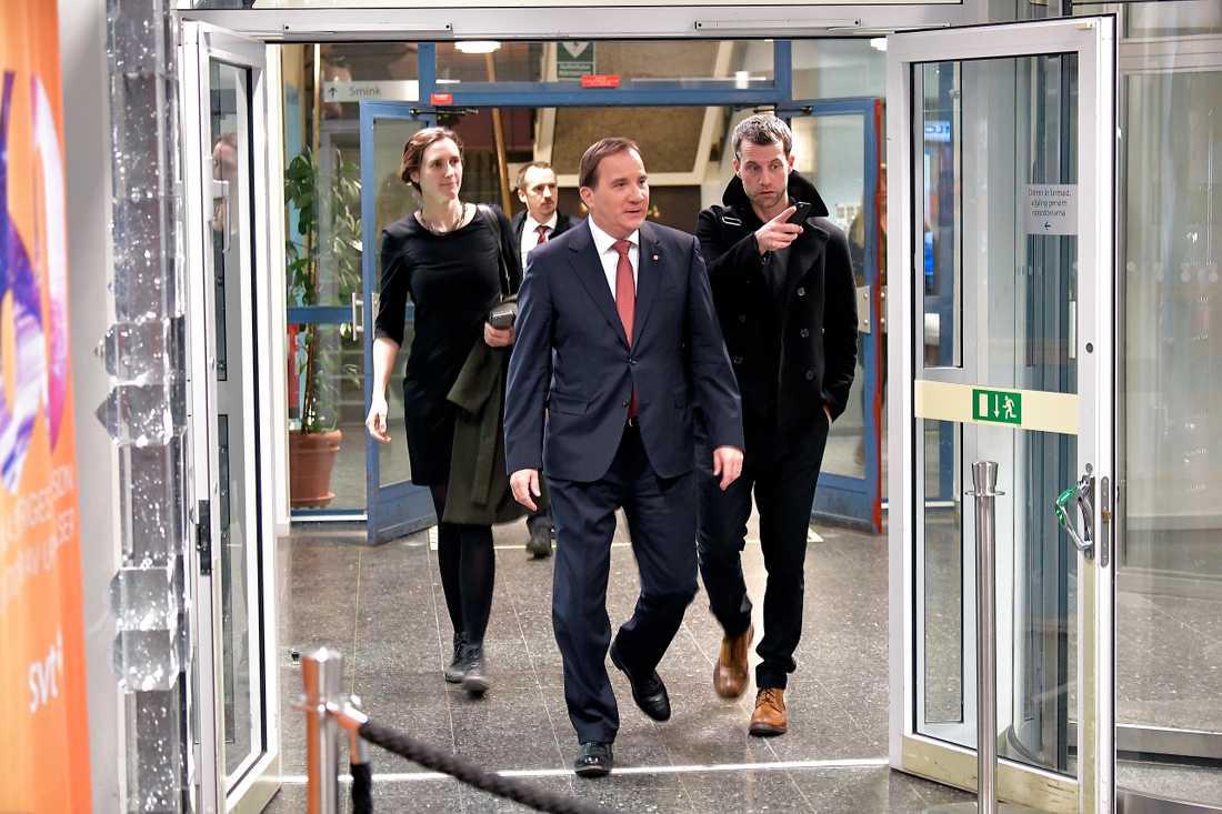 Statsminister Stefan Löfven efter debatten  i SVT.