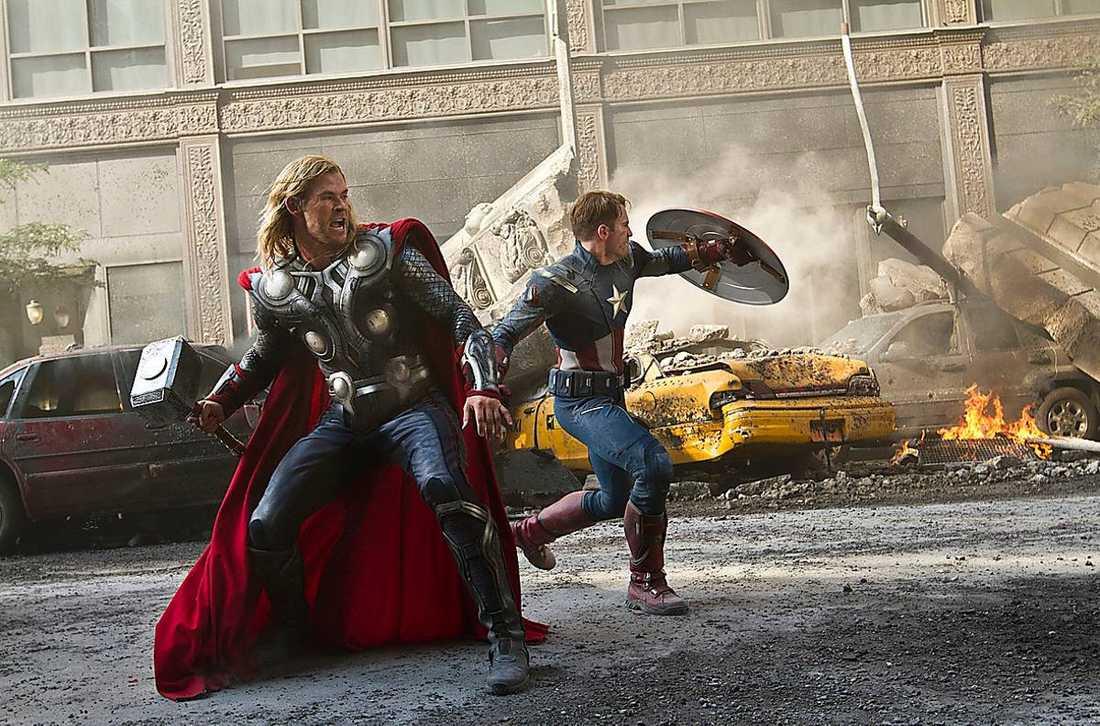 """Thor och Captain America är två av de superhjältar som befolkar """"The avengers"""" värld."""
