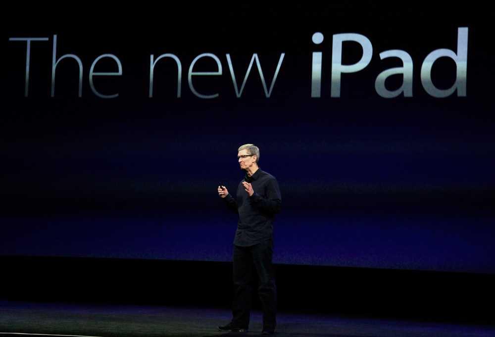 Den här bilden är från i mars när Apples vd Tim Cook presenterade den senaste ipaden.
