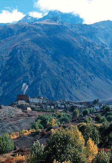 Jarkhut, en av många byar som klättrar på Himalayas sluttningar.