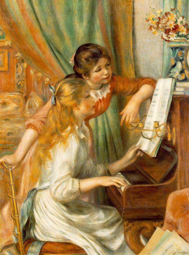 Flickor vid piano från 1892.