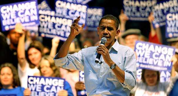 DUGER INTE MED HOPP OCH FÖRÄNDRING President Barack Obama har inlett kampanjen för att bli återvald som president 2012.
