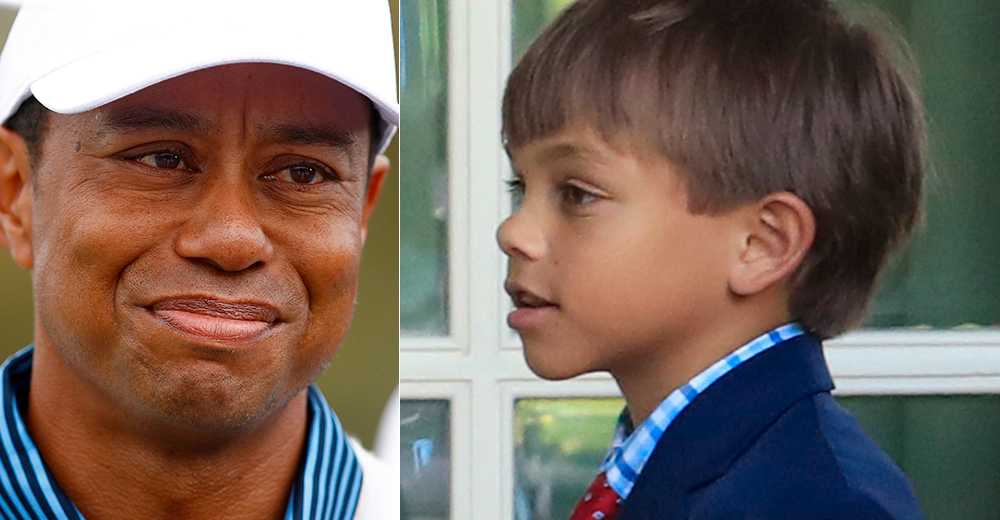 Tiger och Charlie Woods.