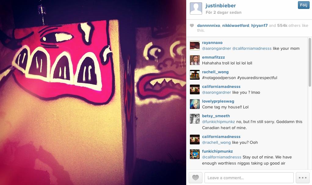 Justin Biebers egen bild på konstverket.
