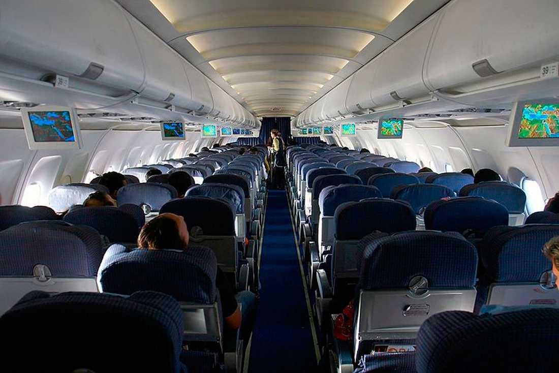 Så här ser ett Airbus320-plan ut i kabinen.