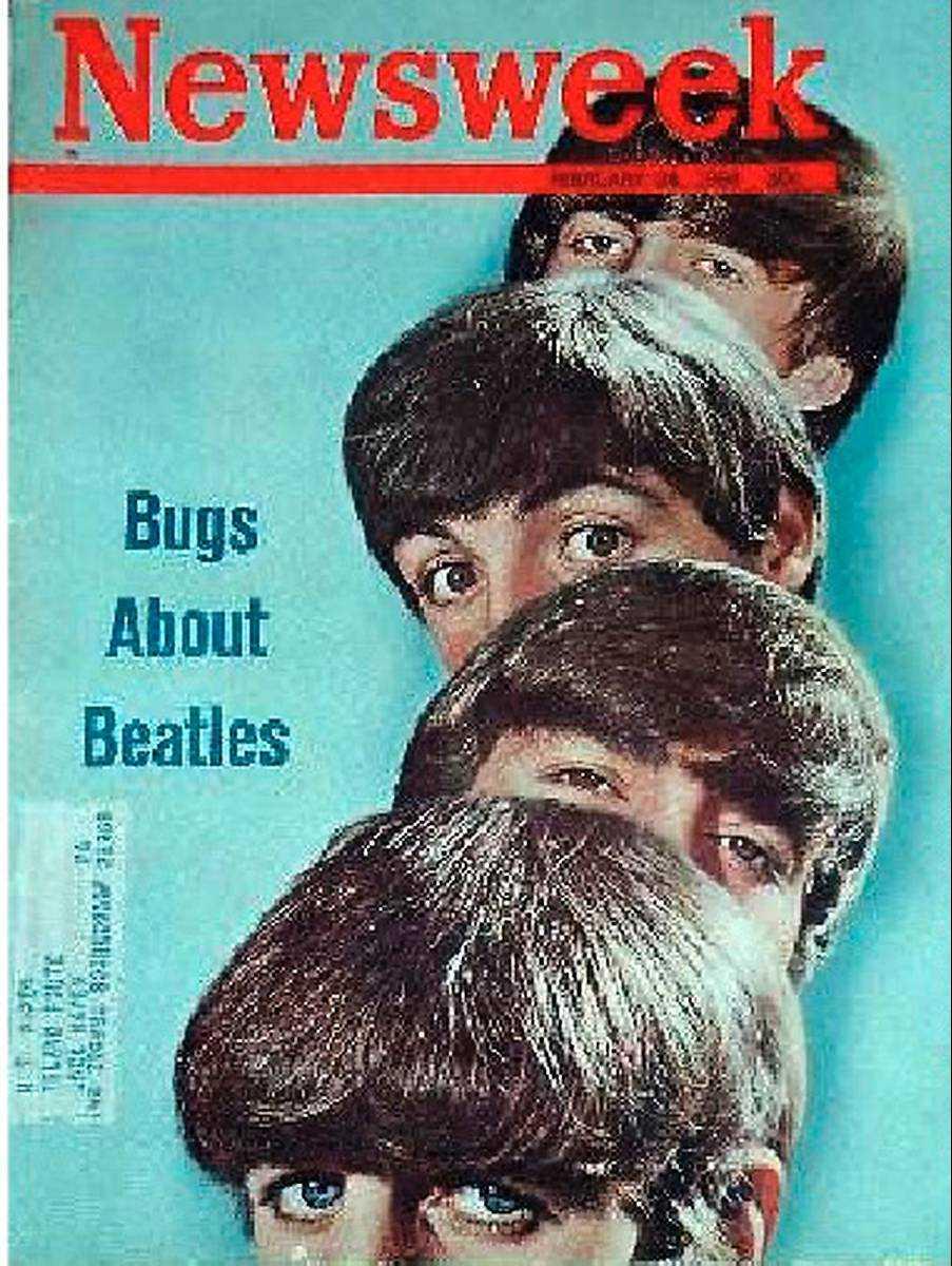 """24 februari, 1964 Omslaget är Beatles första och kommer när bandet är på väg att slå knock på USA efter framträdandet i Ed Sullivans tv-show. I artikeln sågas dock britterna: """"Visuellt är de en mardröm"""" och """"texterna är en katastrof""""."""
