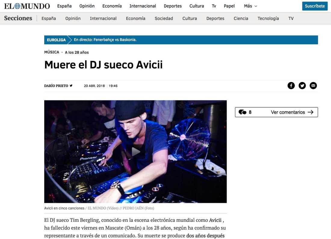 Spanska tidningen El Mundo skriver om Aviciis bortgång.