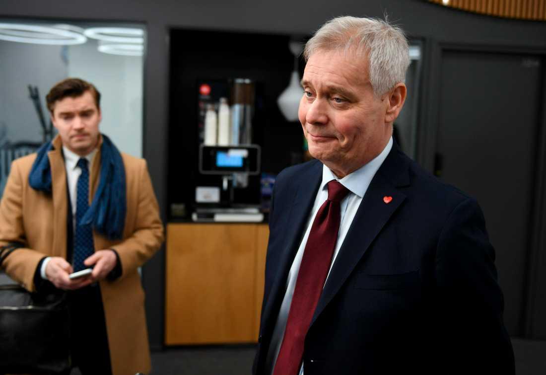 Socialdemokraternas ledare Antti Rinne i samband med valet i april.