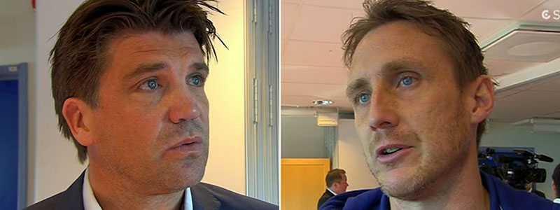 Djurgårdens Bosse Andersson och Andreas Johansson.