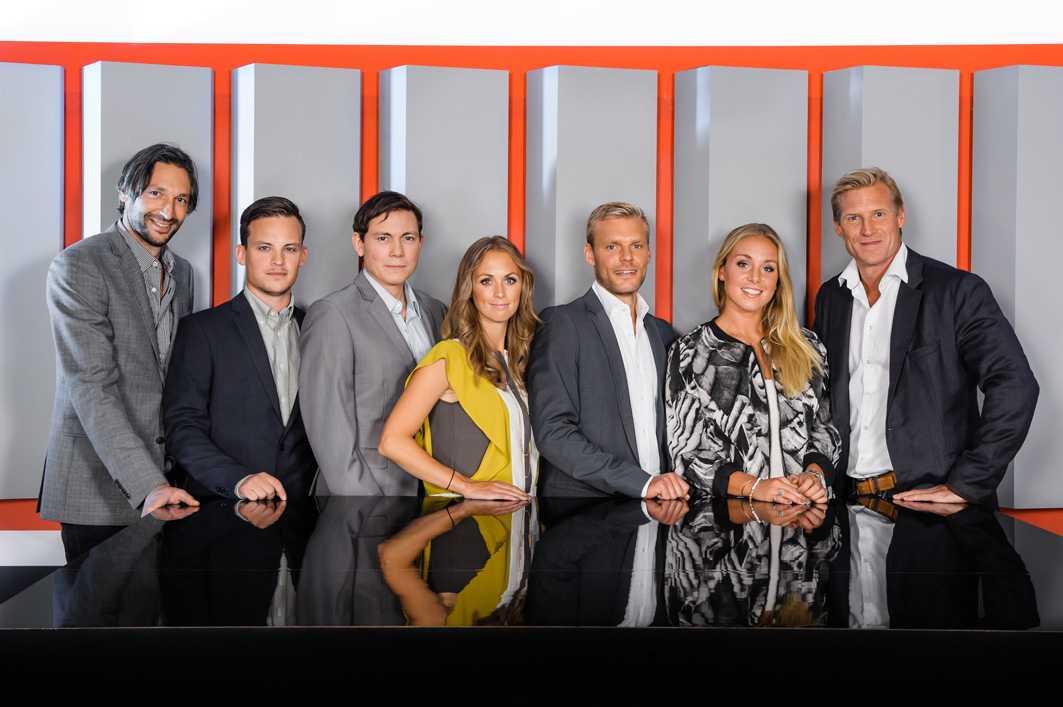 Från vänster: Rami Shaaban, Christopher Kviborg, Niklas Jarelind, Karin Frick, , Johan Arneng, Petronella Ekroth, Johan Mjällby.