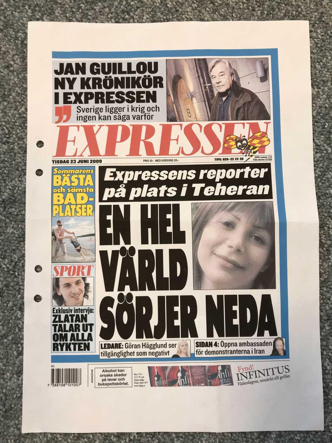 Förslaget på en förstasida på Expressen.