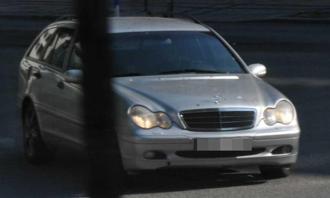 Den silvergrå Mercedes som användes vid mordet på Ribersborg i Malmö.