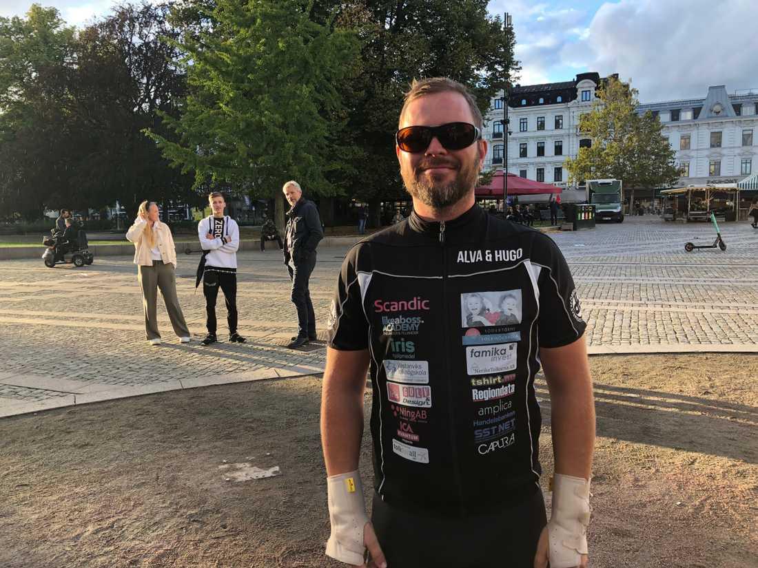 Torbjörn Svensson avslutar på onsdagen sin cykling genom landet.
