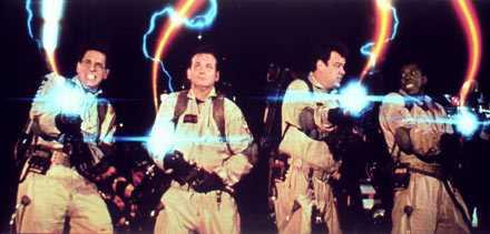 """Spökjägarna Harold Ramis, Bill Murray, Dan Akroyd och Ernie Hudson i """"Ghostbusters 2"""" från 1989."""