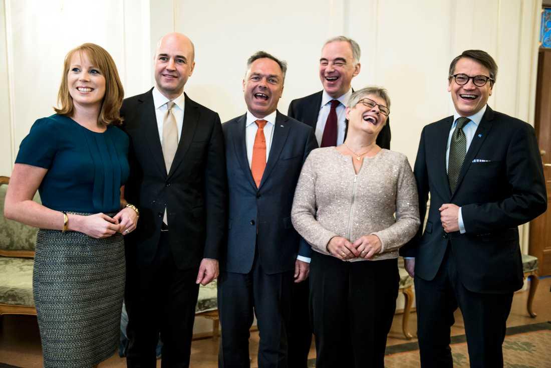 Annie Lööf (C), Fredrik Reinfeldt (M), Jan Björklund (FP), Lars Leijonborg (FP), Maud Olofsson (C), Göran Hägglund (KD).