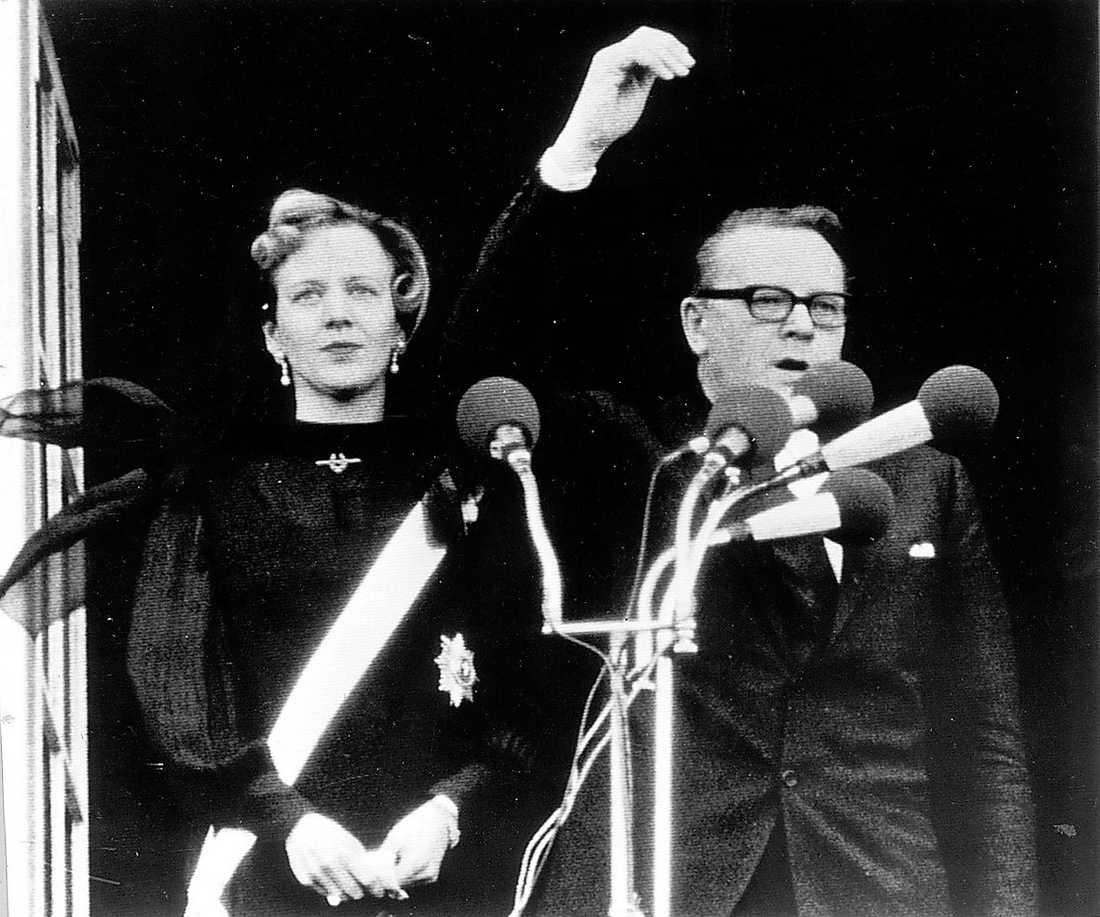 Margrethe kröns till drottning 1972.