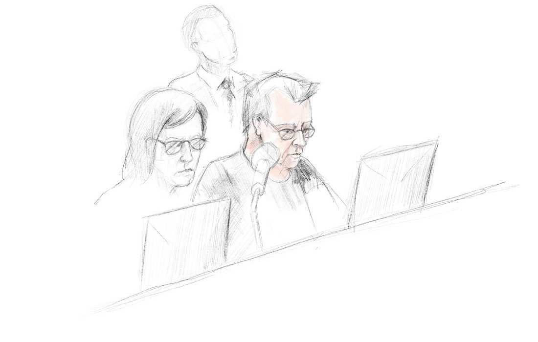 Teckning av Peter Madsen från rättegången.