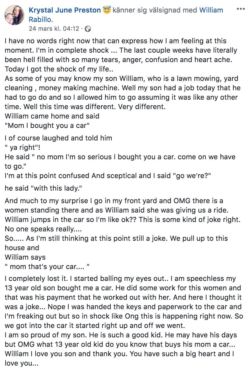 Inlägget mamman Krystal publicerade på Facebook om händelsen.