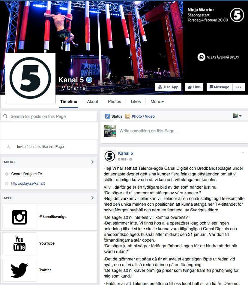 Kanal 5:s facebooksida fylldes av kommentarer kring bråket.