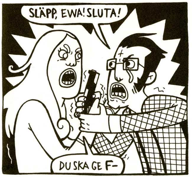 "Ur seriealbumet ""Bita i röret""."