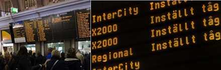 Alla som ska åka söderut får vänta på Stockholms central. Alla tåg är inställda.