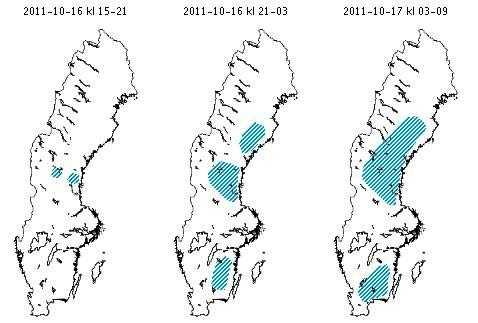 Prognos för i kväll och i natt Det blåa fältet visar hur frosthalkan breder ut sig.