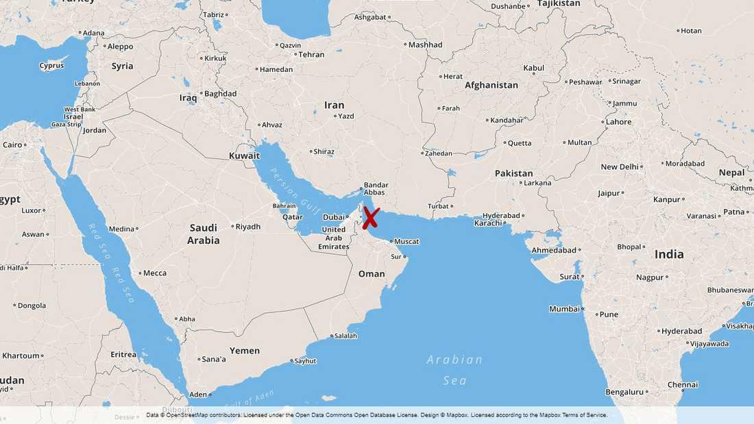 De misstänkta attackerna inträffade i Omanbukten.