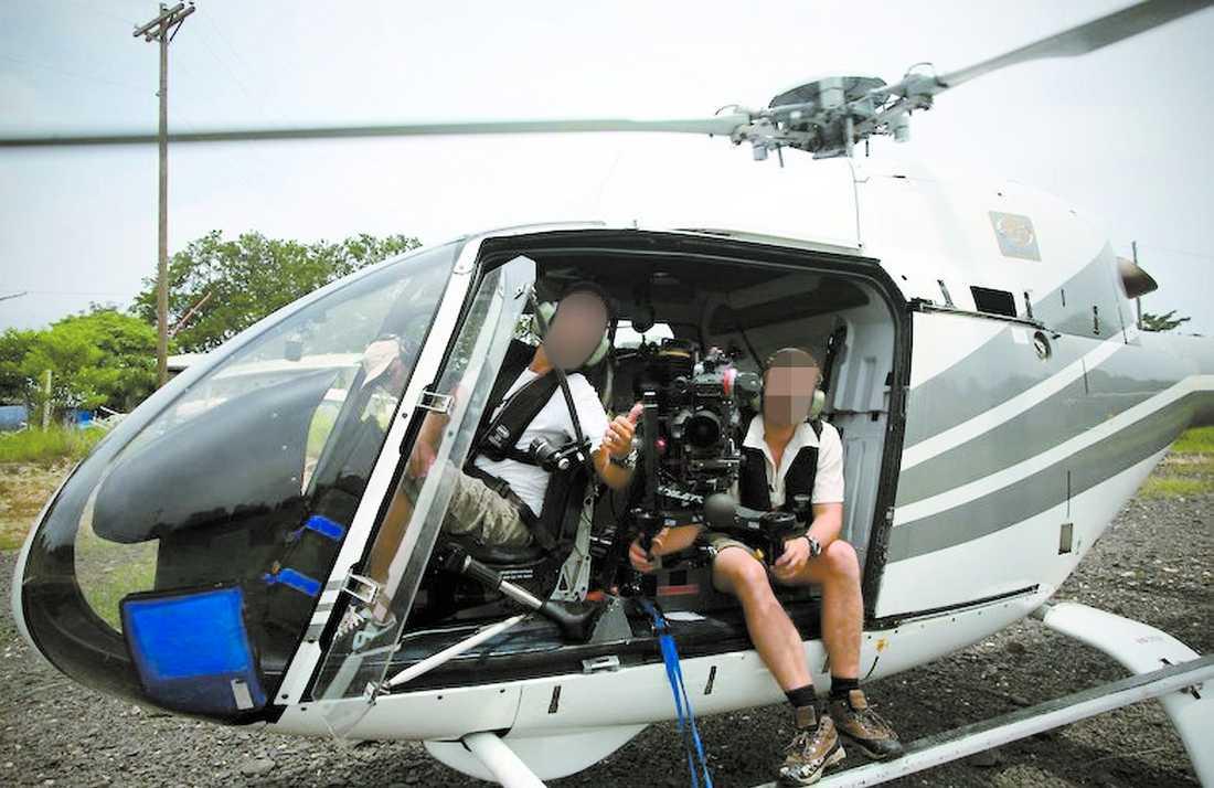 """""""HAN NEKAR TILL ALL INBLANDNING"""" 34-åringen (till höger), är en välkänd tv-man och har jobbat för det företag vars helikopter stals."""