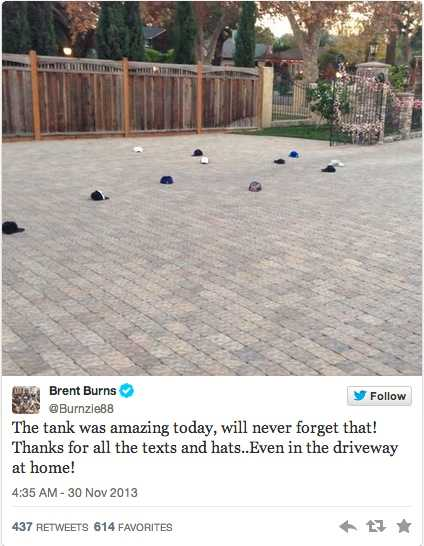 Brent Burns märkliga upptäckt när han kom hem efter hattricket.