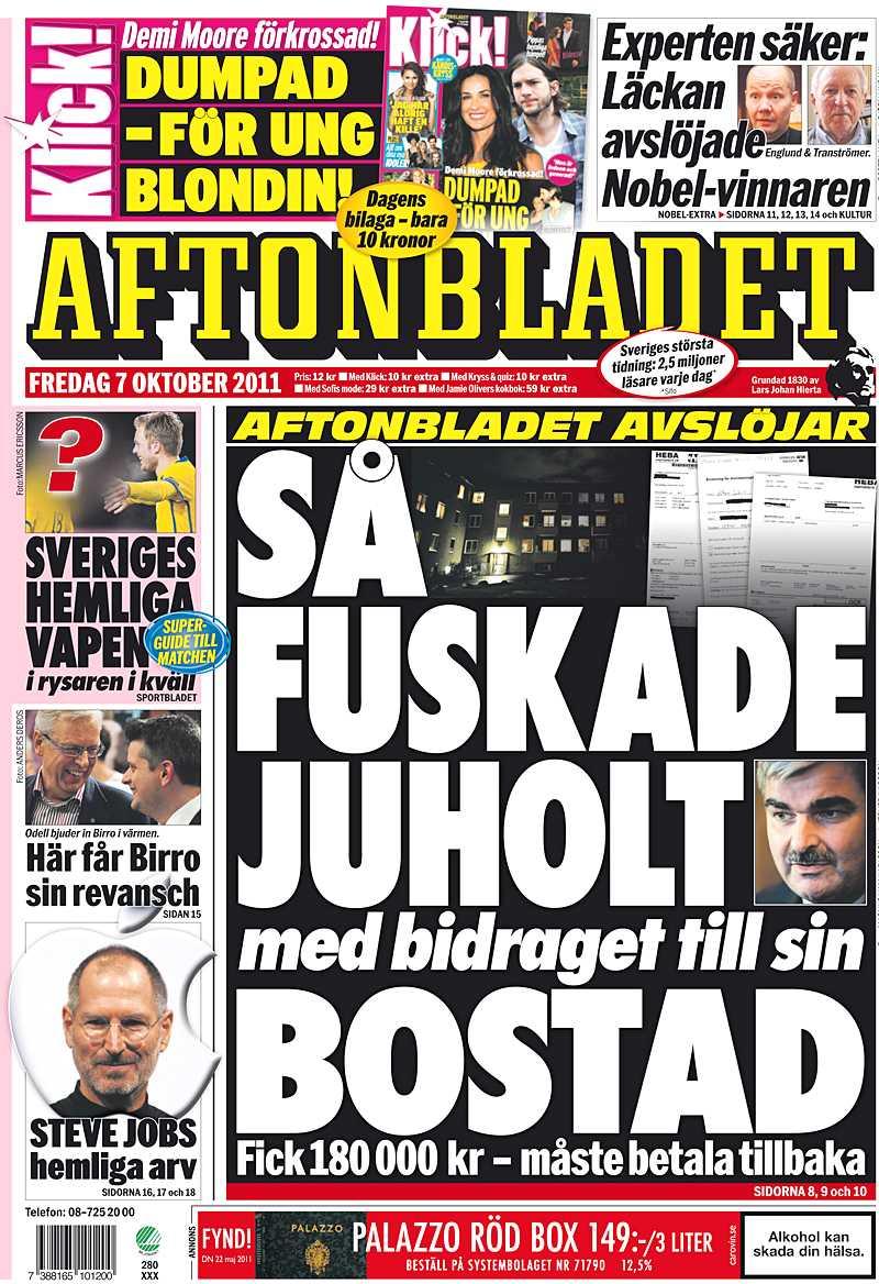 Aftonbladets förstasida fredag 7 oktober 2011.