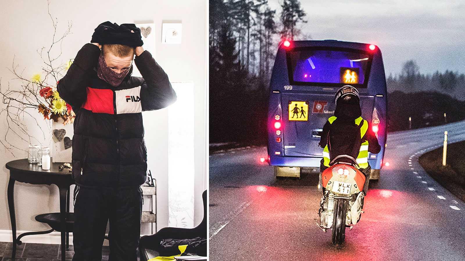 Love får inte åka med syskonen – kör moped bakom skolbussen