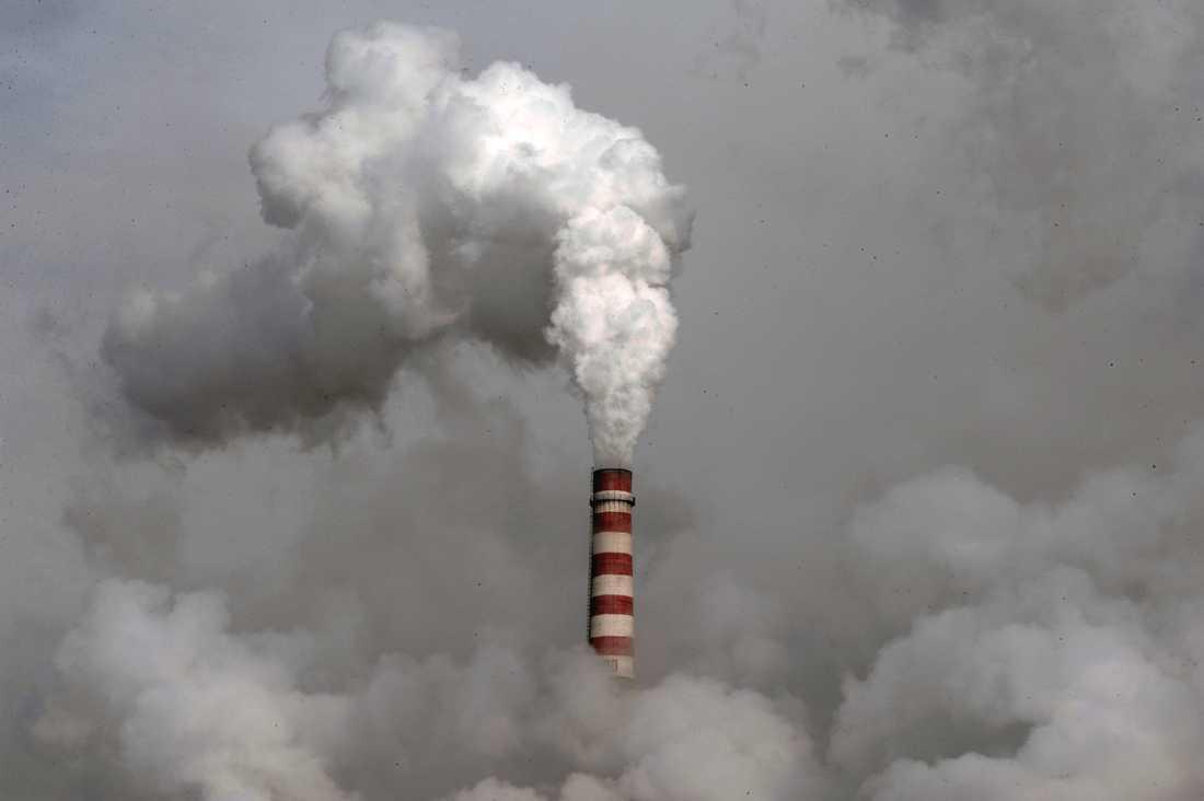 Tät rök väller ut från ett av Kinas otaliga kolkraftverk, just detta i staden Dandong i nordöstra delen av landet. Arkivbild.