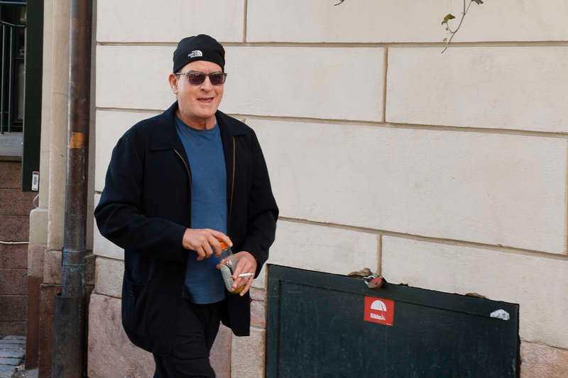 Charlie Sheen i Sverige förra veckan.