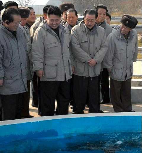 Här tittar Kin Jong Un på fisk