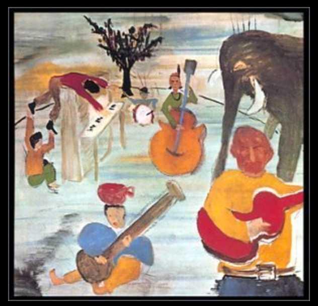 """""""Music from Big Pink"""", The Bands klassiska debutalbum från 1968. Omslag av Bob Dylan. Totalt gjorde de sju album i originaluppsättning."""