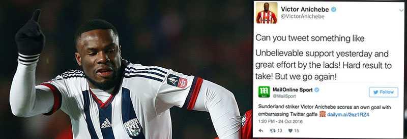 Victor Anichebe, tidigare i West Bromwich Albion, svarade för en riktig blunder i sociala medier.