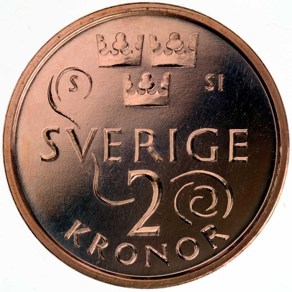 """Baksidan på nya 2-kronan. Det skira mönstret symboliserar vinden som i """"Sol, vind och vatten""""."""