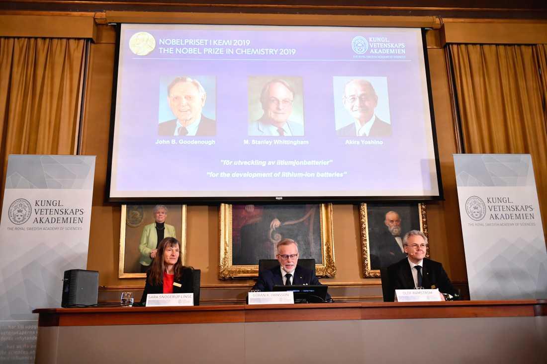 Sara Snogerup Linse, Göran K Hansson, ständig sekreterare för Vetenskapsakademien och Olof Ramström presenterar årets Nobelpristagare i kemi under en pressträff på Kungliga vetenskapsakademien.