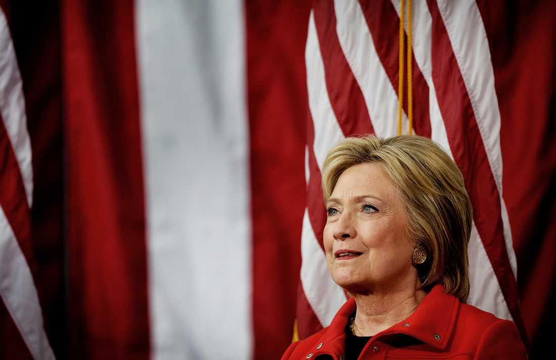 Hillary Clinton under ett valmöte i Iowa i går.