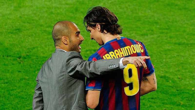Zlatan med sin förre tränare i Barcelona, Pep Guardiola.
