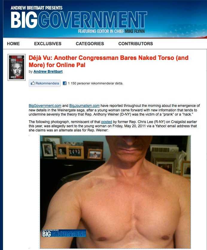 2011 Nakenbilder på den amerikanske toppolitikern Anthony Weiner släpptes på nätet.