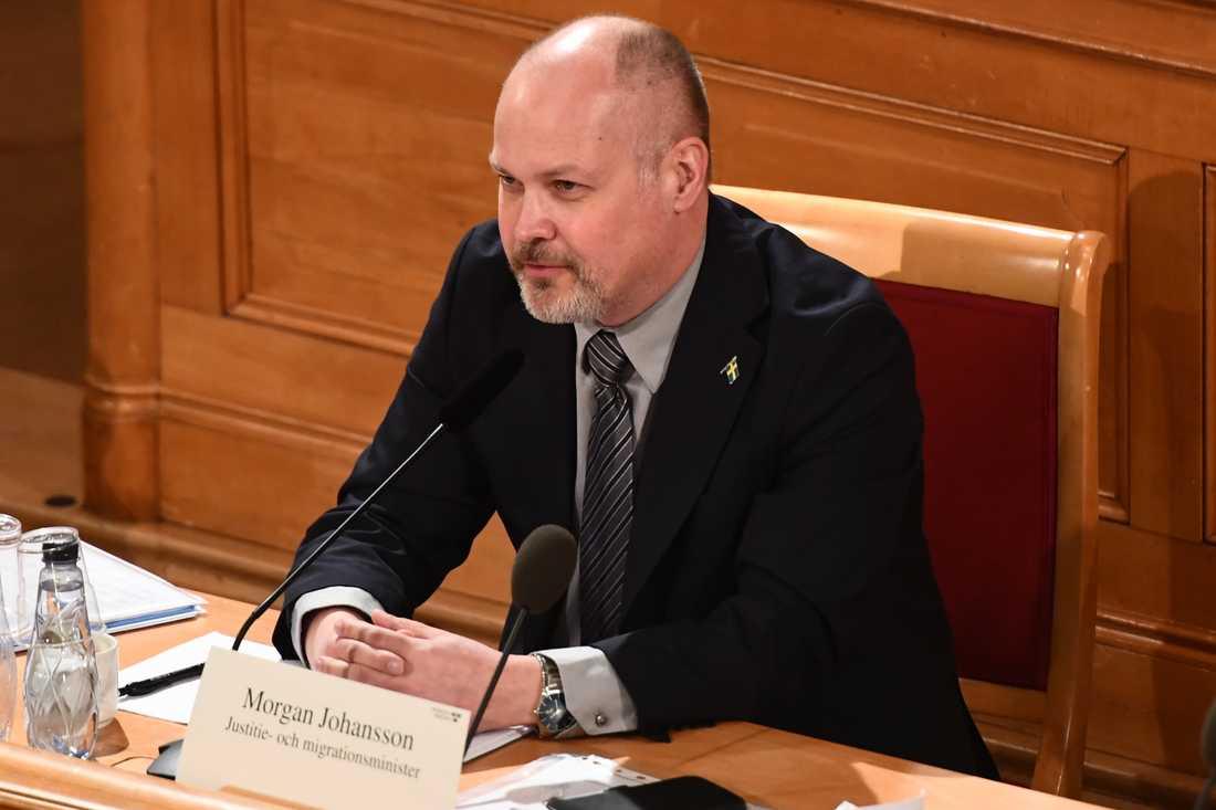 Justitie- och migrationsminister Morgan Johansson (S) frågas ut i KU.