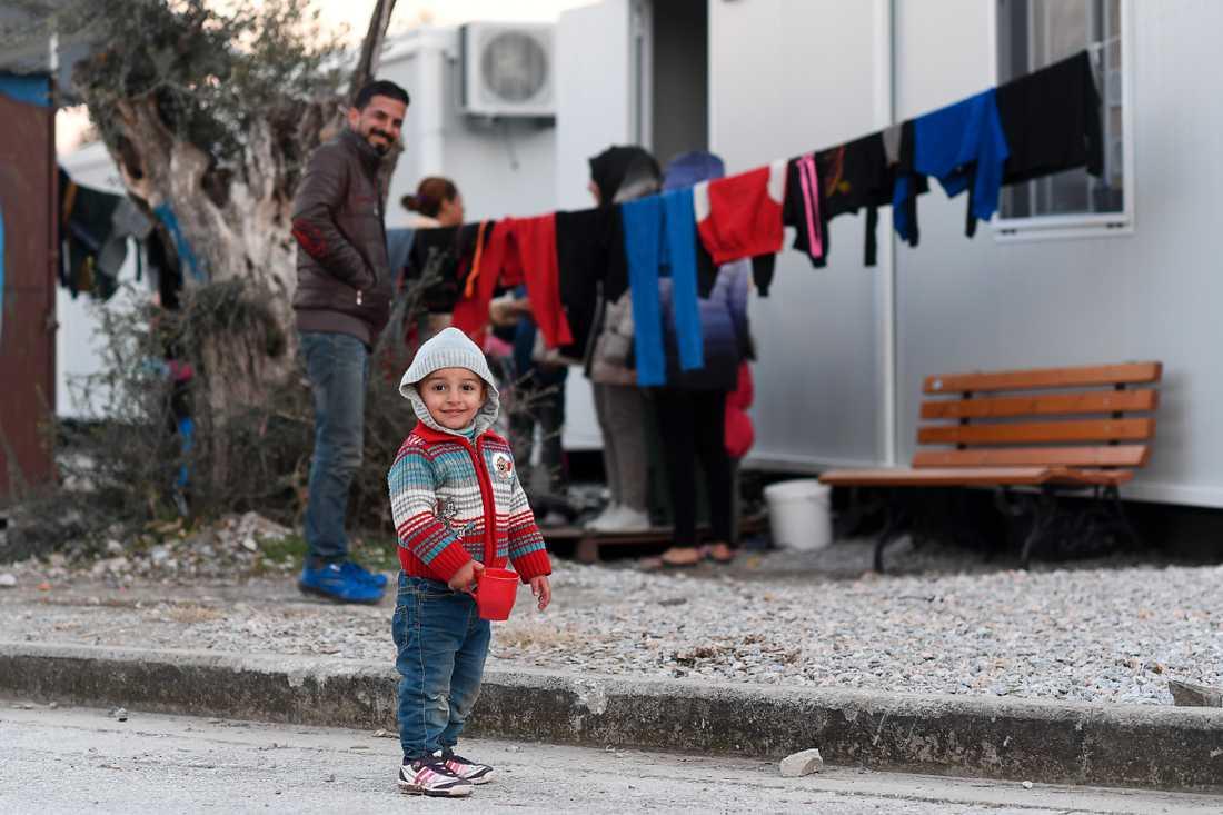 Flyktingar på grekiska ön Lesbos.